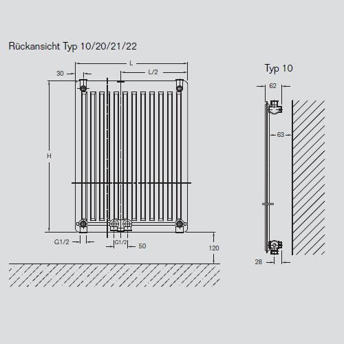 heizk rper cv profil typ 10 h 160 b 50 cm 7728602105 w. Black Bedroom Furniture Sets. Home Design Ideas