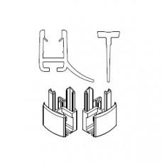 HSK 1x Wasserabweisprofil gerade, mit Endkappe und Einschubdichtung E85058-4