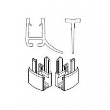 HSK 2x Wasserabweisprofil gebogen, mit Endkappe und Einschubdichtung E85059-4
