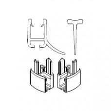 HSK 2x Wasserabweisprofil gebogen, mit Endkappe und Einschubdichtung E85059-6